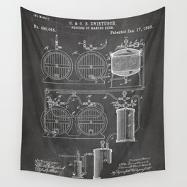 Brewery Patent - Beer Art - Black Chalkboard Wall Tapestry