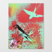 swallow Canvas Prints featuring Swallow by MinxInk