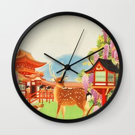 Japan vintage travel art poster Wall Clock