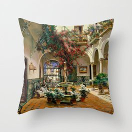 Interior Courtyard Seville Spain by Manuel Garcia Y Rodriguez Throw Pillow