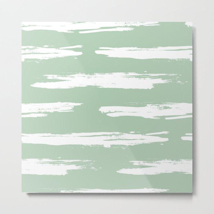 Swipe Stripe White on Pastel Cactus Green Metal Print