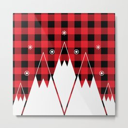 Red Buffalo Plaid Mountains Metal Print