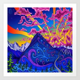 psychedelic colorful lines nature mountain trees snowy peak moon sun rays hill road artwork star sky Art Print