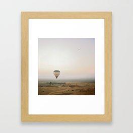 Ballon flight view of desert in sunrise Framed Art Print