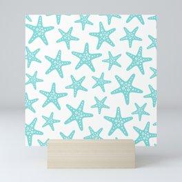 Sweet Starfish Pattern 235 Aqua Mini Art Print