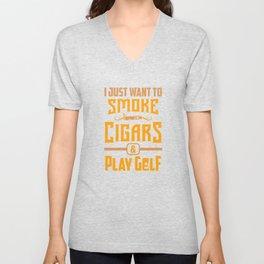 Smoker Smoking Smoke Cigars Play Golf Golfer Gift Unisex V-Neck