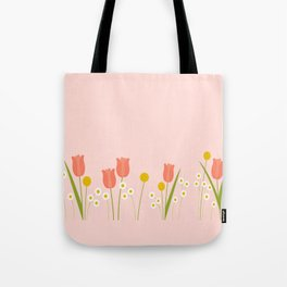 Pale Pink Light Orange Spring Flowers Tote Bag
