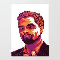 leonardo dicaprio Canvas Prints featuring Leonardo DiCaprio by Obez