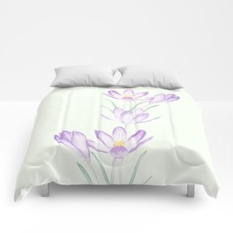 purple botanical crocus flowers Comforters