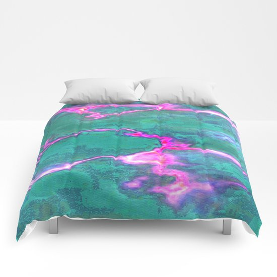 Marbled Green with Hot Pink Comforters
