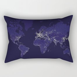 The world map at night in navy blue Rectangular Pillow