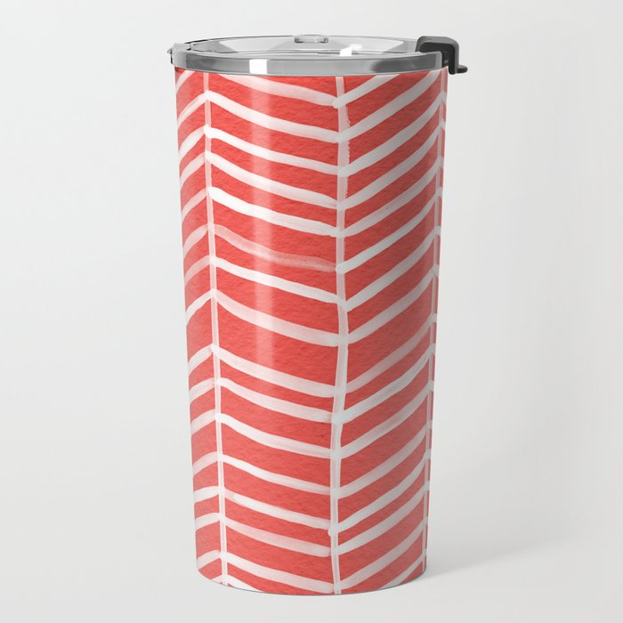 Coral Herringbone Travel Mug