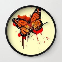 BLOODY BLEEDING ORANGE MONARCH BUTTERFLY Wall Clock