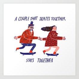 skate couple Art Print