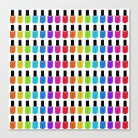 nail polish Canvas Prints featuring Nail Polish Rainbow by Tikwid
