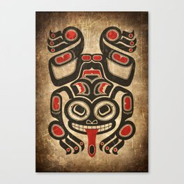 Red and Black Haida Spirit Tree Frog Canvas Print