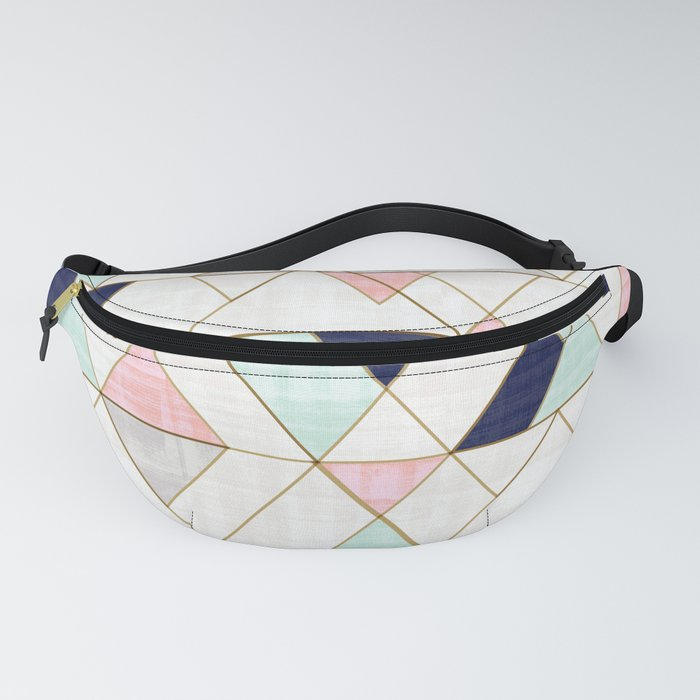 Mod Triangles - Navy Blush Mint Fanny Pack