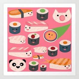 Kawaii sushi hot pink Art Print