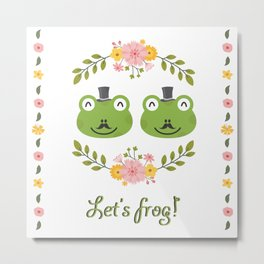 Let's frog! Funny gay frogs couple Metal Print