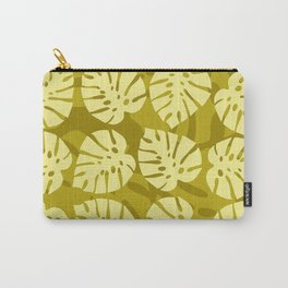 Yellow Palm Leaves On Mustard Mint Leaves Pattern Carry-All Pouch