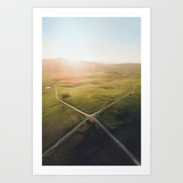 Crossroad from above Art Print