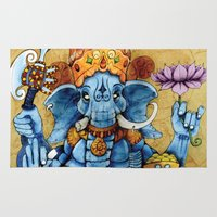 ganesh Area & Throw Rugs featuring Ganesh by RICHMOND ART STUDIO