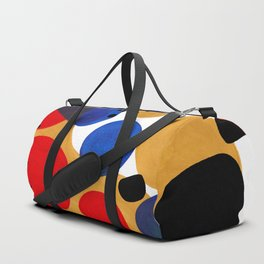 Modern Mid Century Fun Colorful Abstract Minimalist Painting Shapes & Patterns Primary Colors Duffle Bag