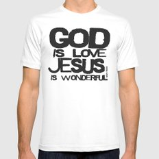 God is Love Jesus is Wonderful White Mens Fitted Tee MEDIUM