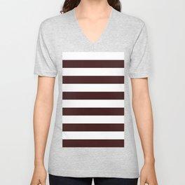 Horizontal Stripes - White and Dark Sienna Brown Unisex V-Neck