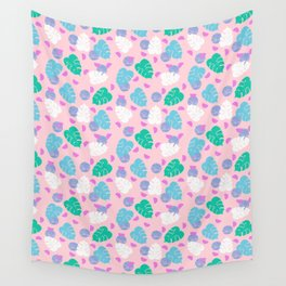 Monstera leaf house plant abstract modern print neon pink pastel summer vacation palm springs Wall Tapestry