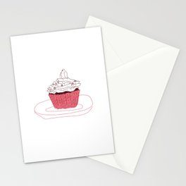 Red Velvet Vegan Cupcake  Stationery Cards
