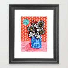 Proper - abstract minimal still life flower vase grid painted dots pattern wacka design Framed Art Print