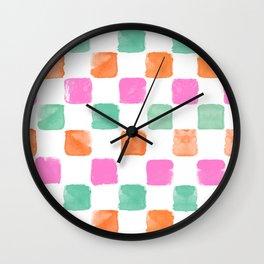 Chess Pink Orange Petrol Watercolours Wall Clock