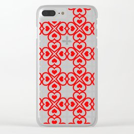 Red hearts pattern Clear iPhone Case