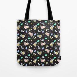 Silkie Guinea Pigs Kawaii Unicorn Pattern in Black Tote Bag