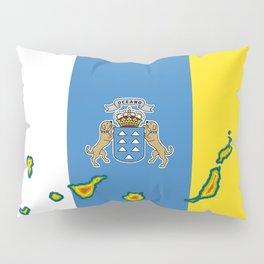 Canary Islands Flag with Map of the Canary Islands Islas Canarias Pillow Sham