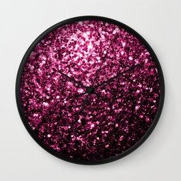 Beautiful Dark Pink glitter sparkles Wall Clock