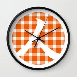 Plaid Persimmon Orange Person Wall Clock