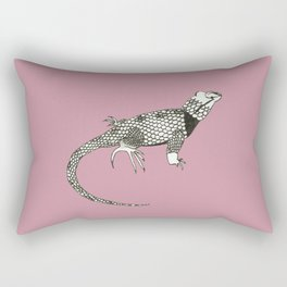 Black and White Lizard Rectangular Pillow