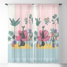 Sleek Black Cats Rule In This Urban Jungle Sheer Curtain