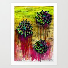 Electric Water Lilies  Art Print