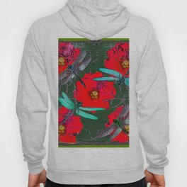 ANTIQUE CRACKLED  BLUE DRAGONFLIES ON RED HOLLYHOCK FLOWERS Hoody