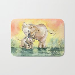 Colorful Mother's Love - Elephant Bath Mat