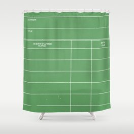 Library Card BSS 28 Negative Green Shower Curtain
