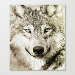 Smokey Sketched Wolf Wildlife Wolves Art Canvas Print