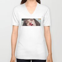 mia wallace V-neck T-shirts featuring Mia Wallace by Tariana B.