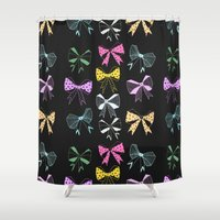 bow Shower Curtains featuring Bow Print by minniemorrisart