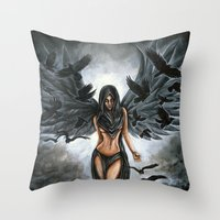 dramatical murder Throw Pillows featuring Lady Murder by Megan Mars