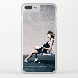 top model with hat Clear iPhone Case