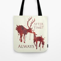 snape Tote Bags featuring Always by Rose's Creation
